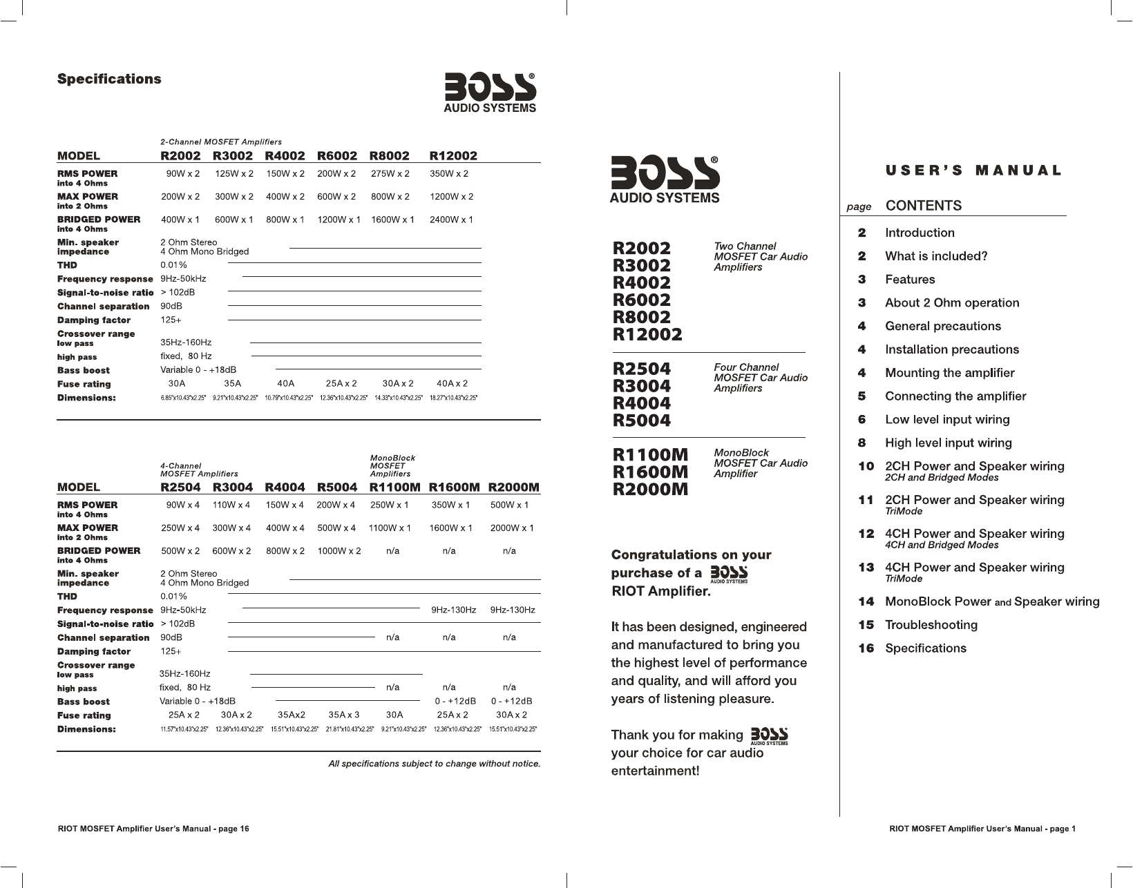 User manual Boss Audio Systems R1100M (8 pages)Manua.ls