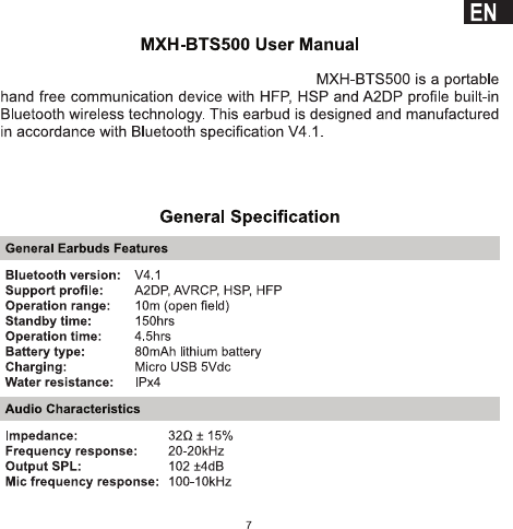 User Manual Maxell Mxh Bts500 6 Pages